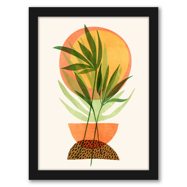 Retro Sunset Garden By Modern Tropical - Black Framed Print - Wall Art - Americanflat