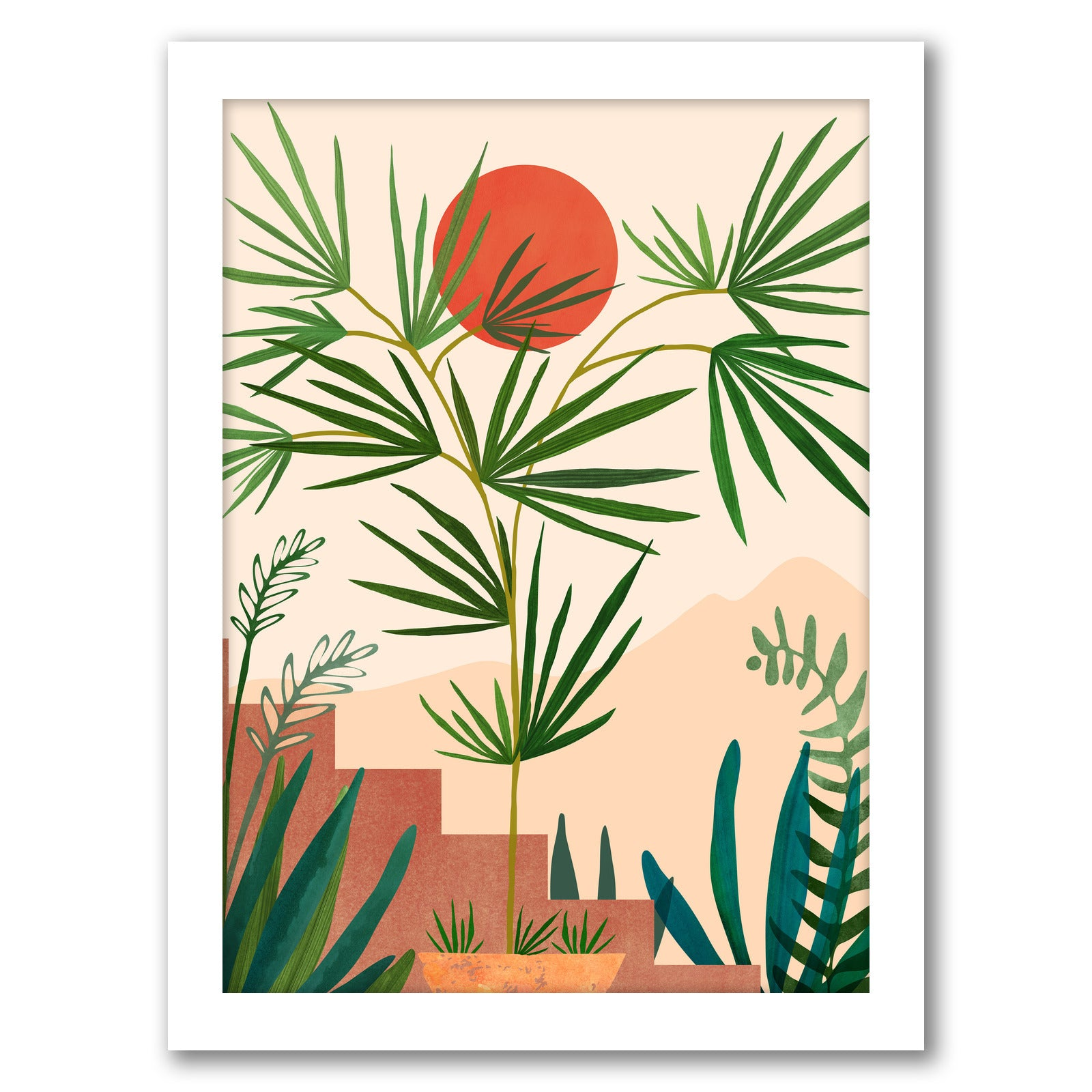 Weekend In Mojave by Modern Tropical - White Framed Print - Wall Art - Americanflat