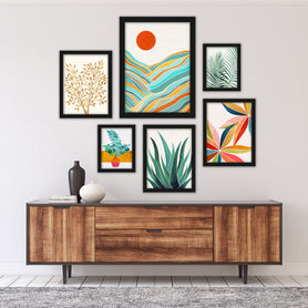 Modern Tropical Framed Gallery Wall Set 4