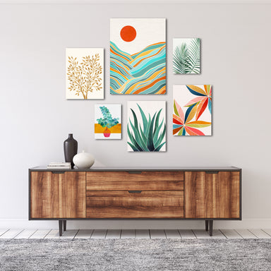 Modern Tropical Canvas Gallery Wall Set 4 - Wrapped Canvas - Americanflat