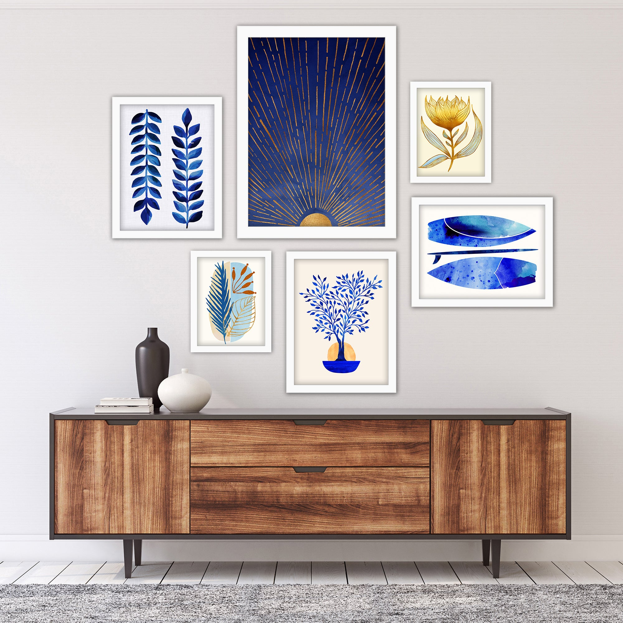 Modern Tropical Blue Moon Framed Gallery Wall Set - Art Set - Americanflat