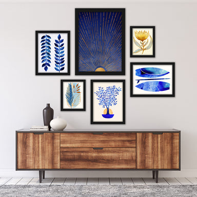 Modern Tropical Blue Moon Framed Gallery Wall Set - Framed Print - Americanflat
