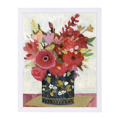 Asian Floral Gold Mat By Sharon Montgomery - White Framed Print - Wall Art - Americanflat