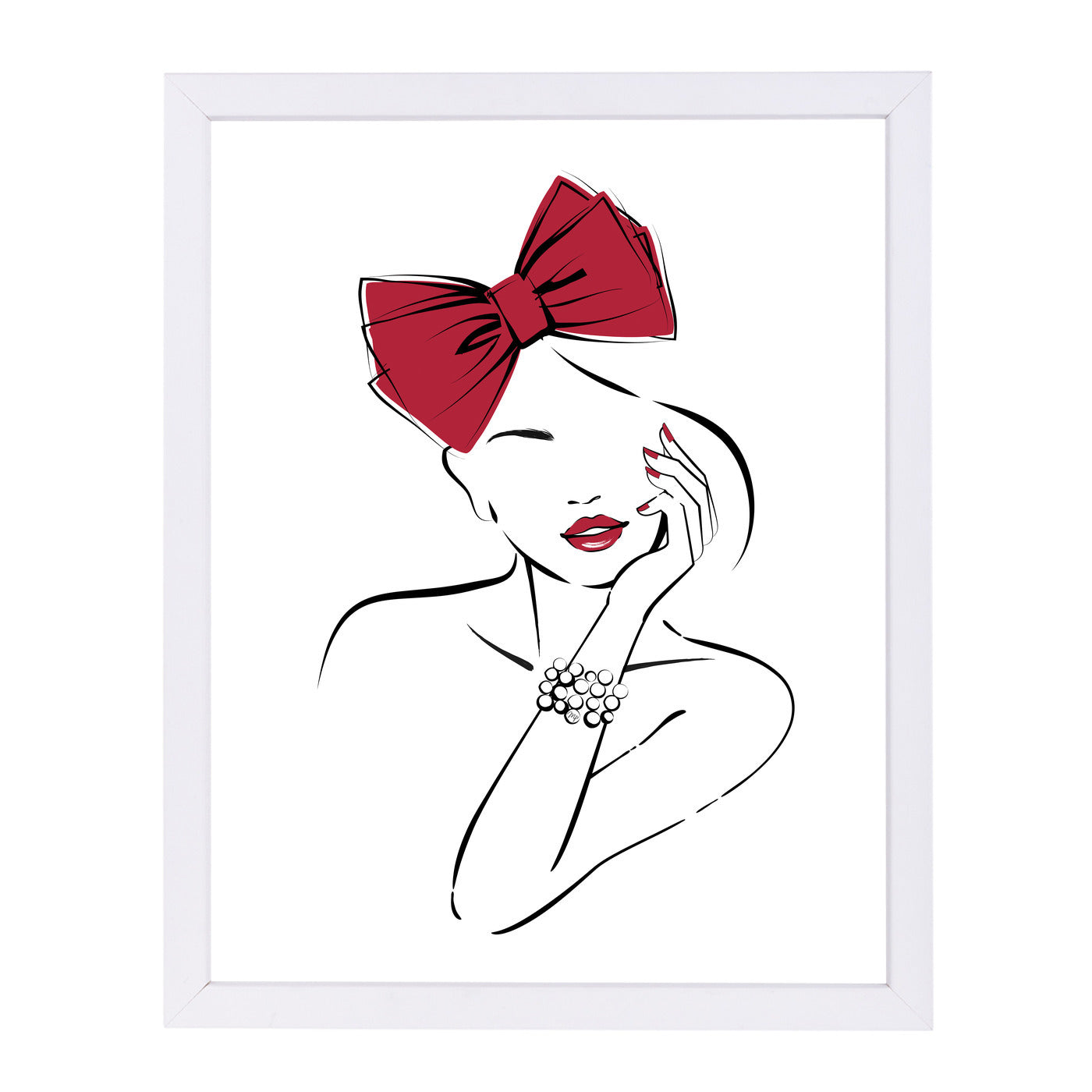Red Bow By Martina - White Framed Print - Wall Art - Americanflat