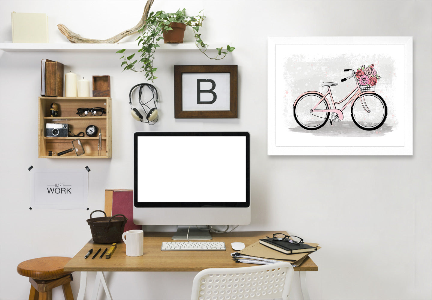 Romantic Bike By Martina - White Framed Print - Wall Art - Americanflat