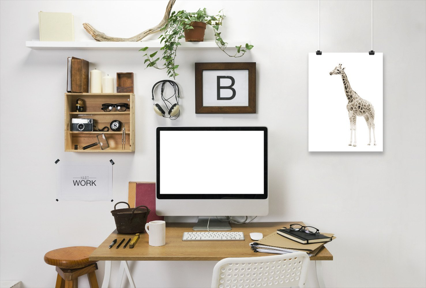 Beige Giraffe 1 by Wall + Wonder - Art Print - Americanflat