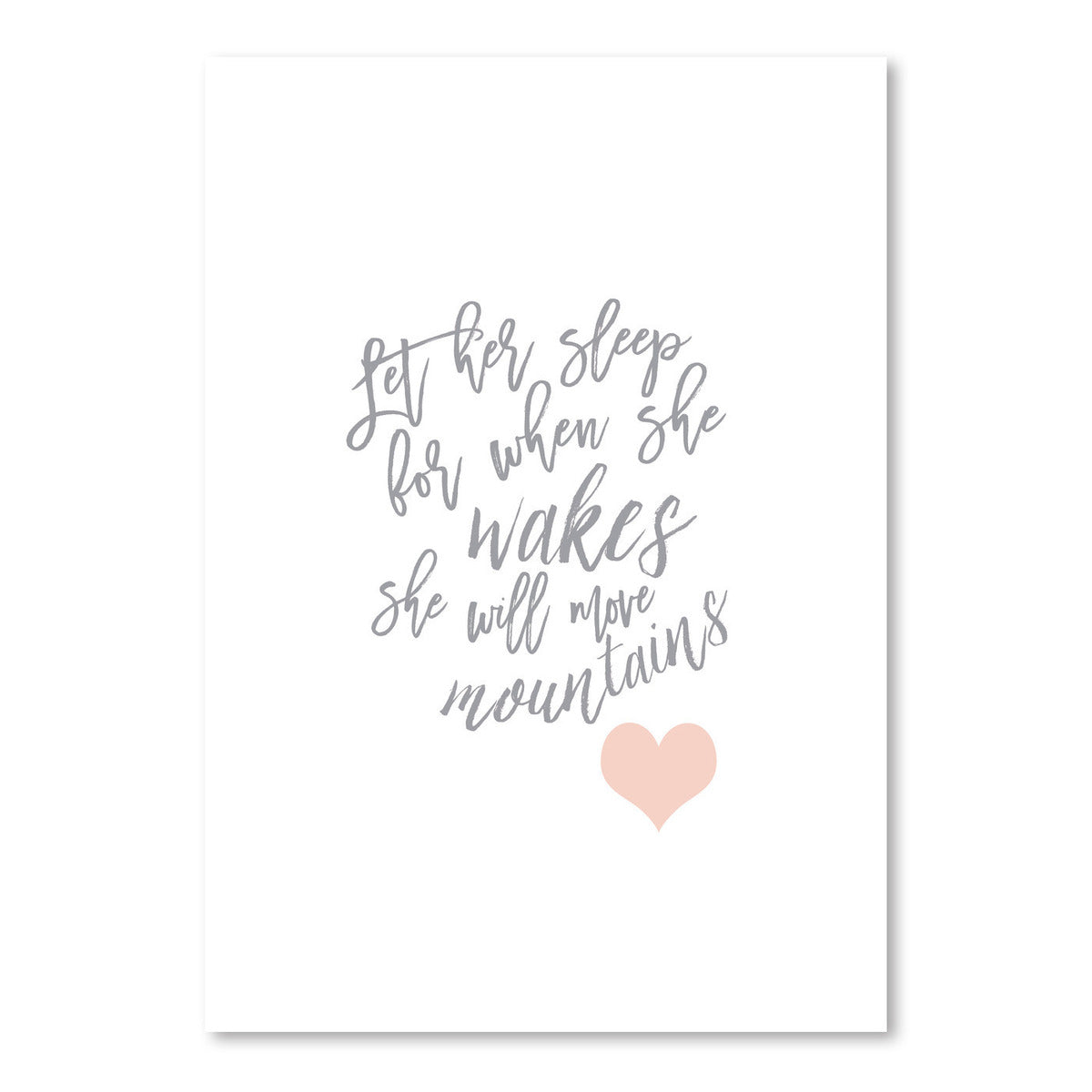 Let Her Sleep Gray Blush Heart by Wall + Wonder - Art Print - Americanflat