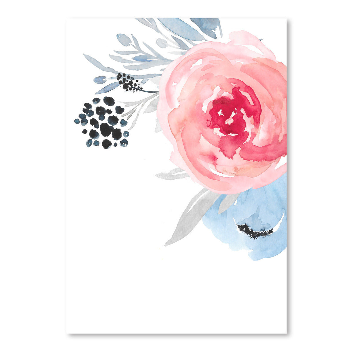 Navy Floral Big On Right by Wall + Wonder - Art Print - Americanflat