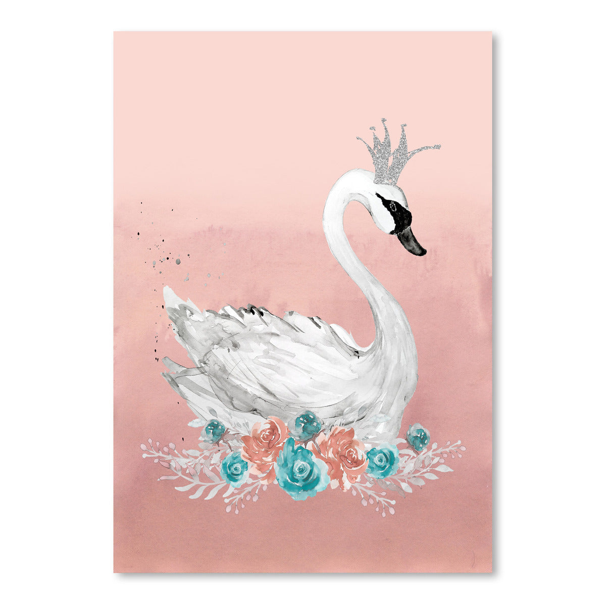 Swan Peach Teal Floral by Wall + Wonder - Art Print - Americanflat