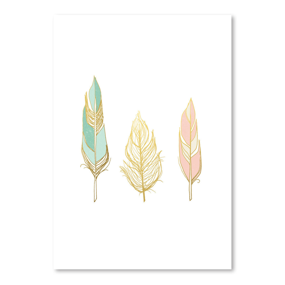 Three Feathers In Gold by Wall + Wonder - Art Print - Americanflat