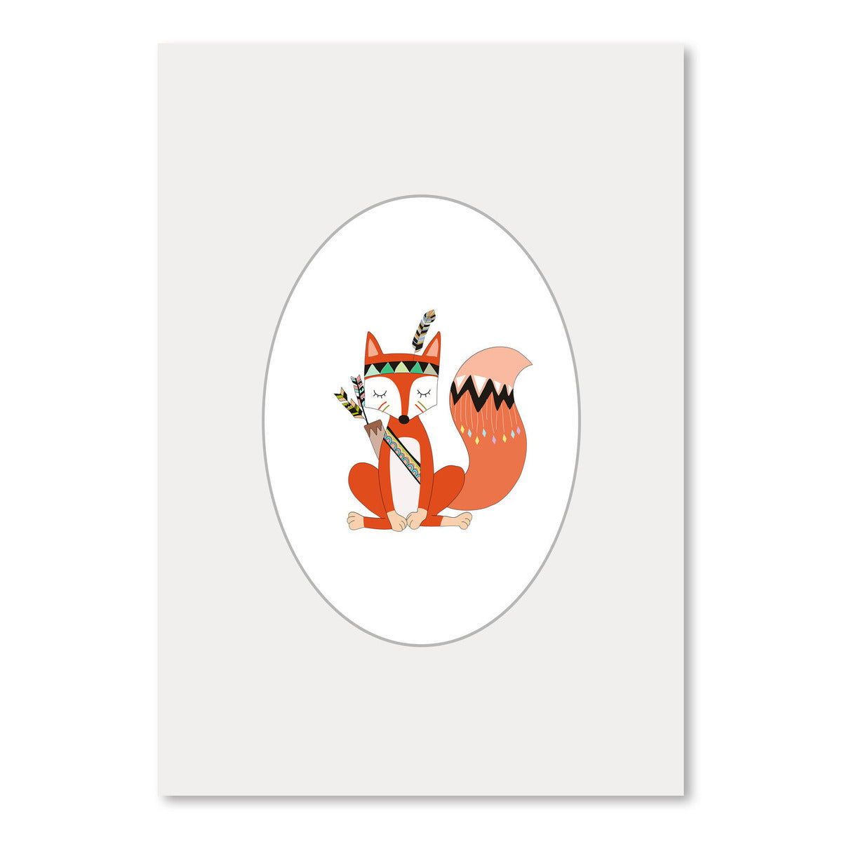 Tribal Fox In Oval by Wall + Wonder - Art Print - Americanflat