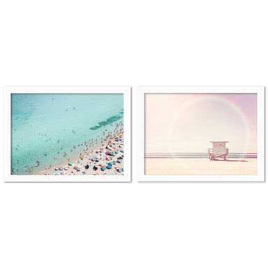 Busy Beachby Sisi and Seb - 2 Piece Framed Print Set - Americanflat