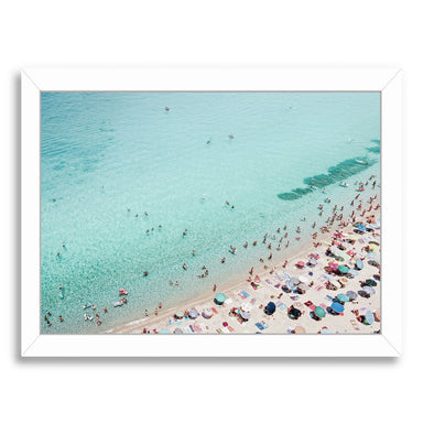Busy Beach By Sisi And Seb - White Framed Print - Wall Art - Americanflat