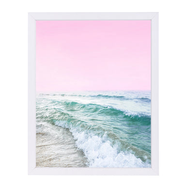 Pink Sky Ocean By Sisi And Seb - White Framed Print - Wall Art - Americanflat
