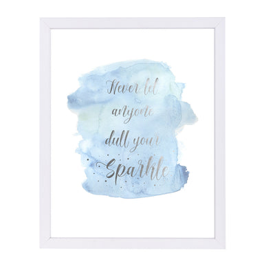 Never Let Anyone Dull Your Sparkle By Kate Shephard - White Framed Print - Wall Art - Americanflat