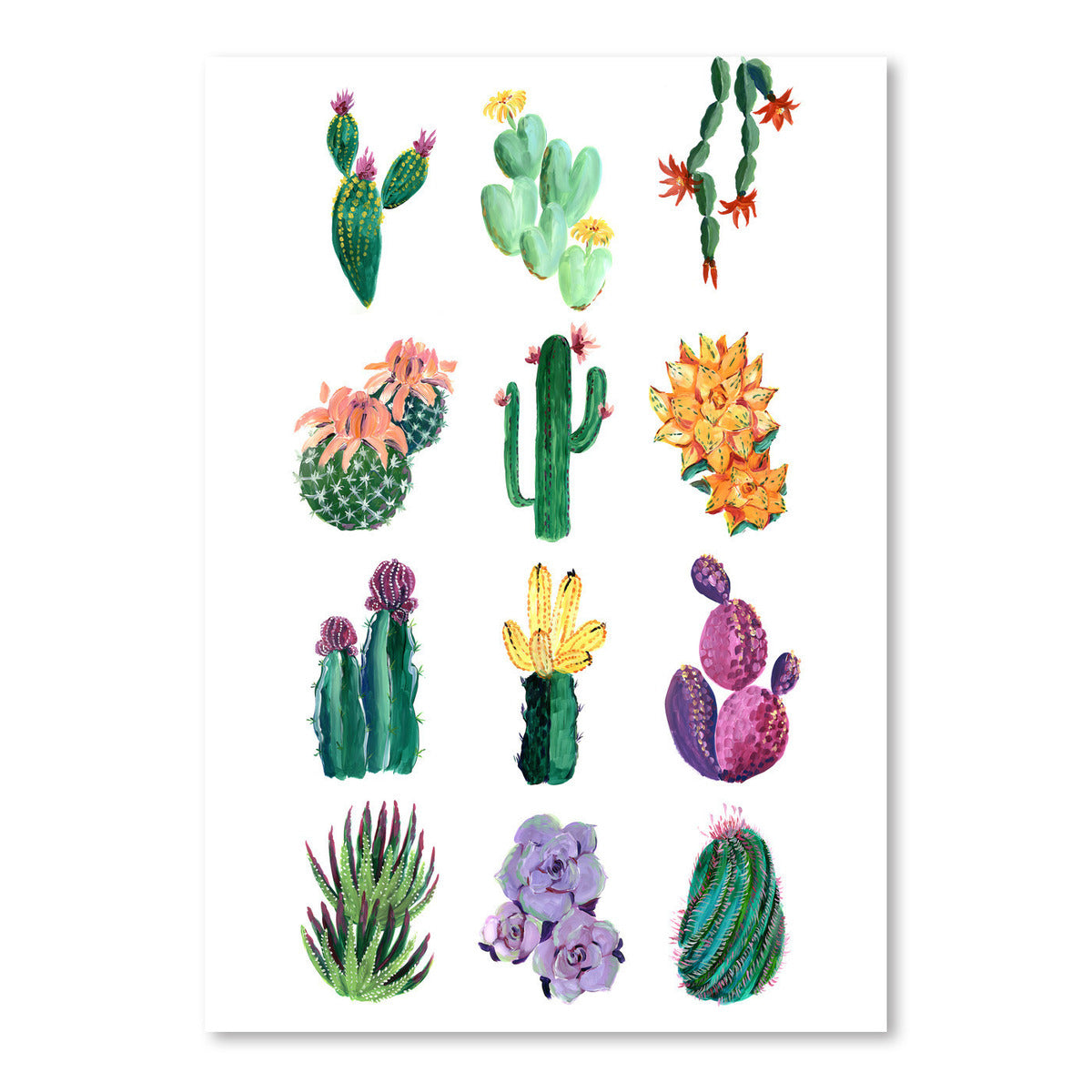 Collection Of Colorful Cacti And Succulents by Blursbyai - Art Print - Americanflat