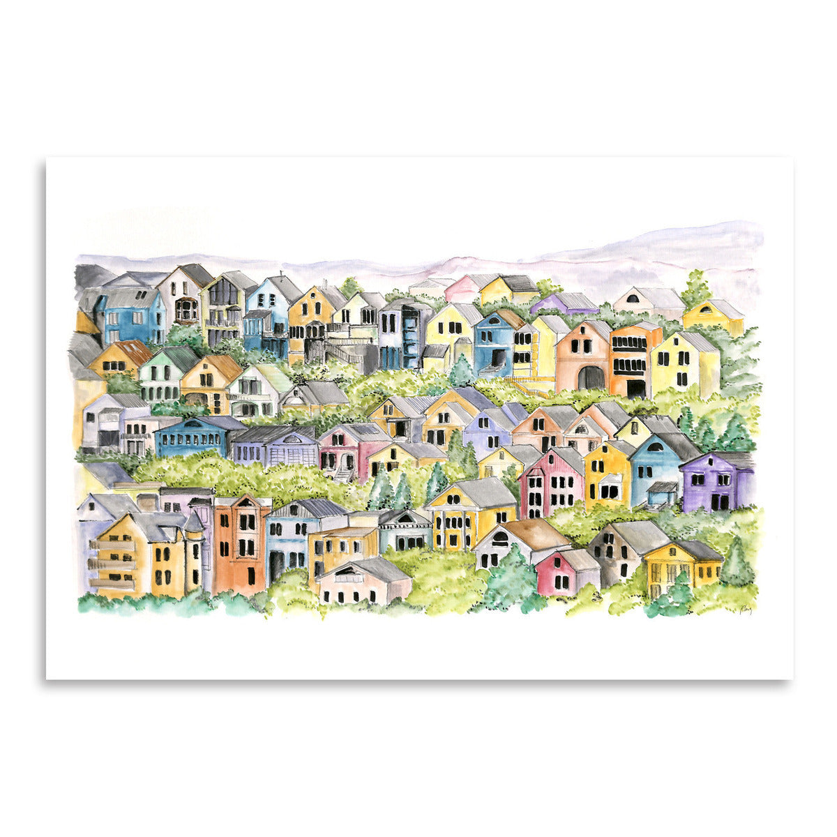 Colorful San Francisco Houses by Blursbyai - Art Print - Americanflat