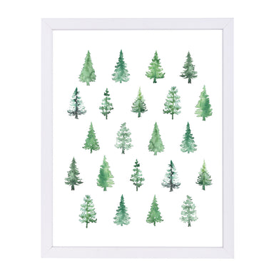 Watercolor Pines Pattern By Blursbyai - White Framed Print - Wall Art - Americanflat