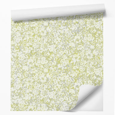 "18' L x 24"" W Peel & Stick Wallpaper Roll - Green Blossom Flowers by DecoWorks - Wallpaper - Americanflat"