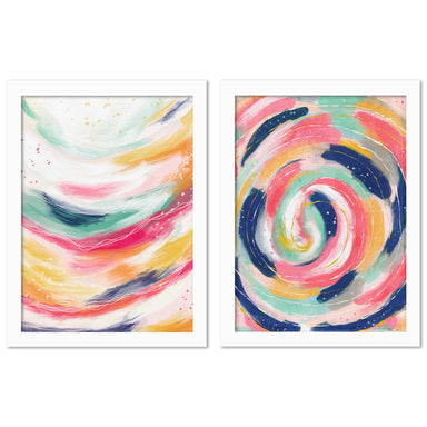 Colorful Strokes by Lisa Nohren - 2 Piece Framed Print Set - Americanflat