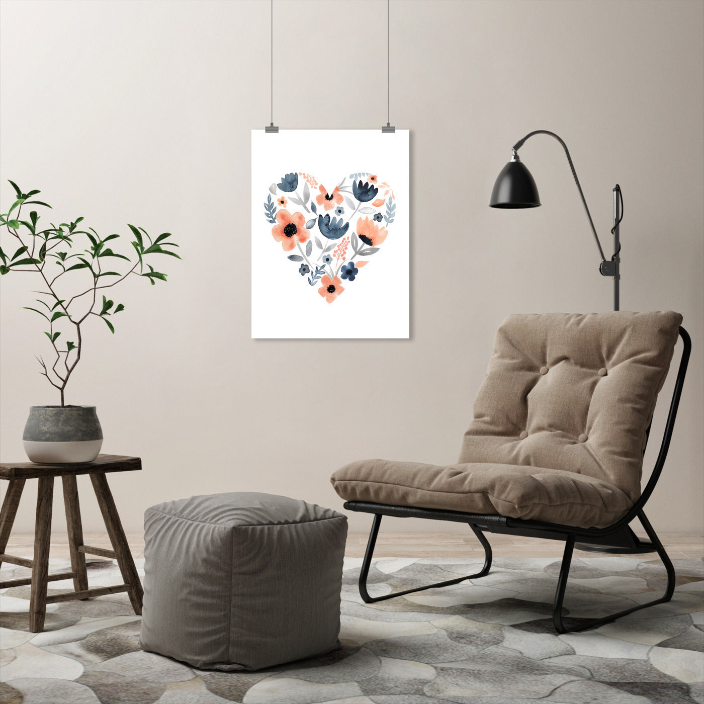 Heart Coral Navy by Lisa Nohren - Art Print - Americanflat