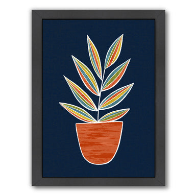 Plant Navy By Lisa Nohren - Black Framed Print - Wall Art - Americanflat