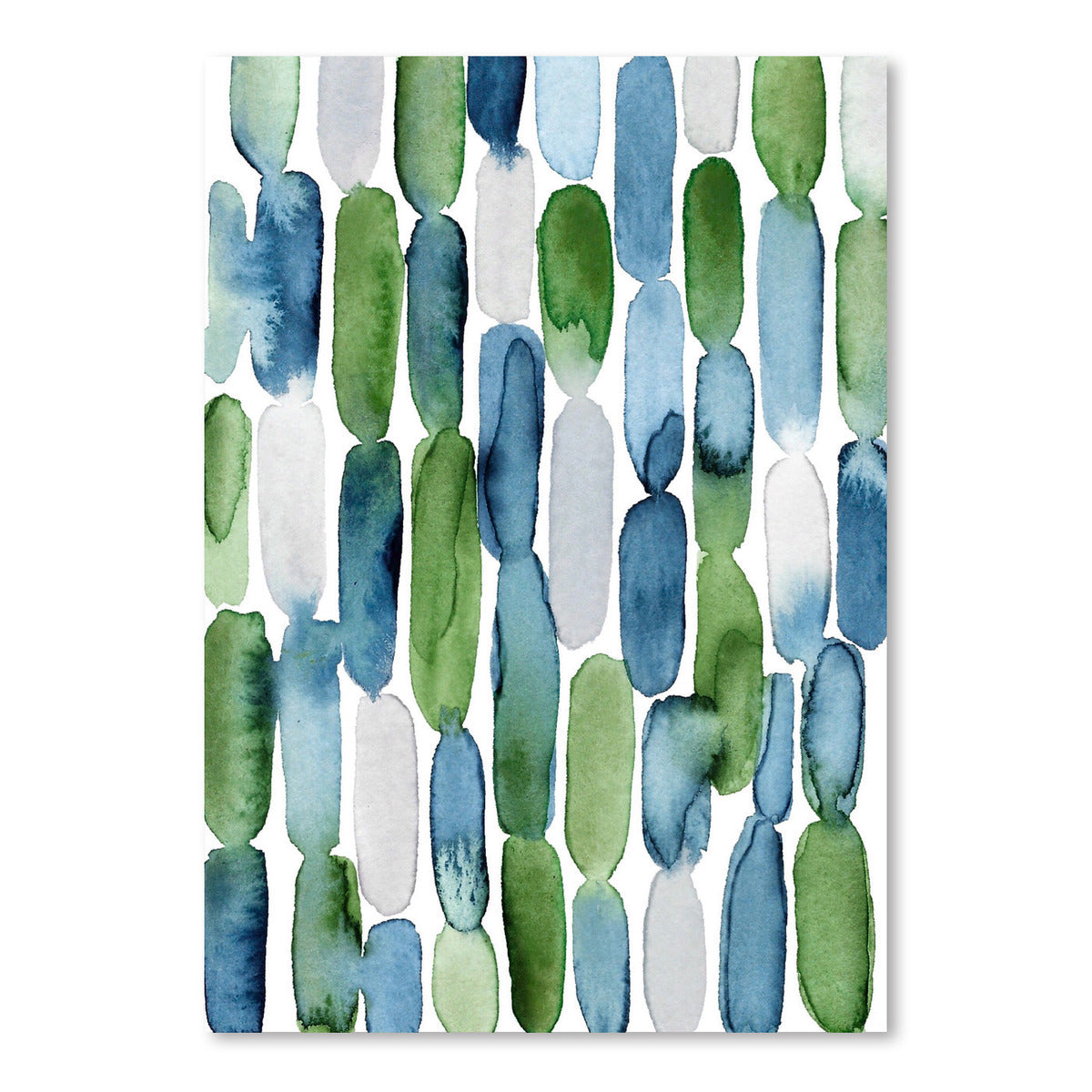 Watercolor Blue Green Strokes by Lisa Nohren - Art Print - Americanflat