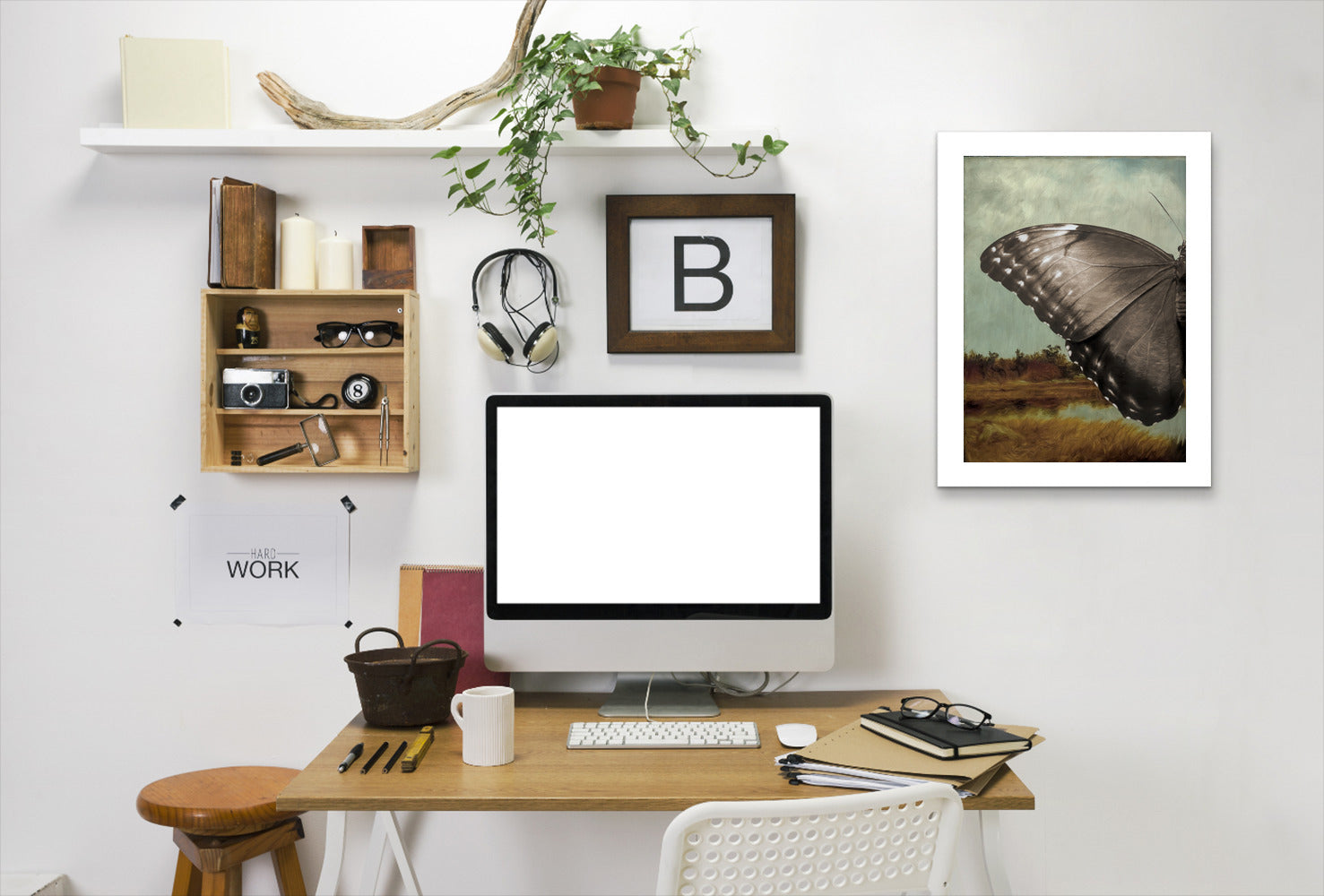 Butterfly Landscape I By Chaos & Wonder Design - White Framed Print