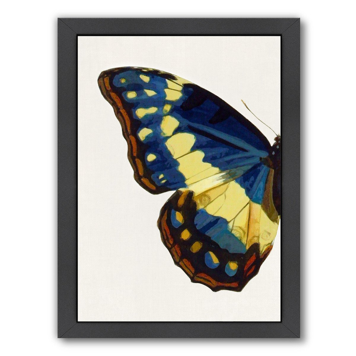 Blue Gold Butterfly I By Chaos & Wonder Design - Black Framed Print - Wall Art - Americanflat