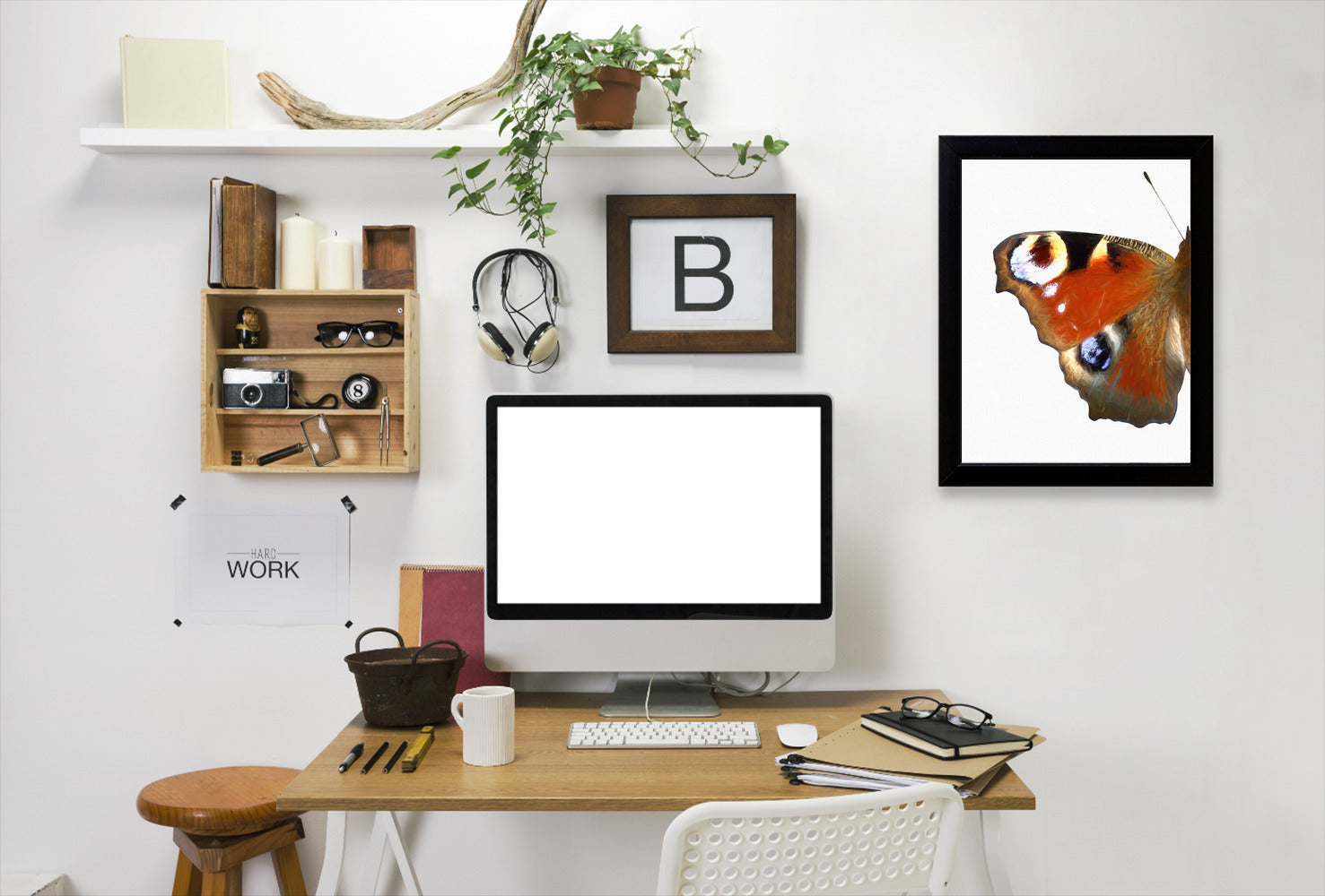 Peacock Butterfly Wing I By Chaos & Wonder Design - Black Framed Print