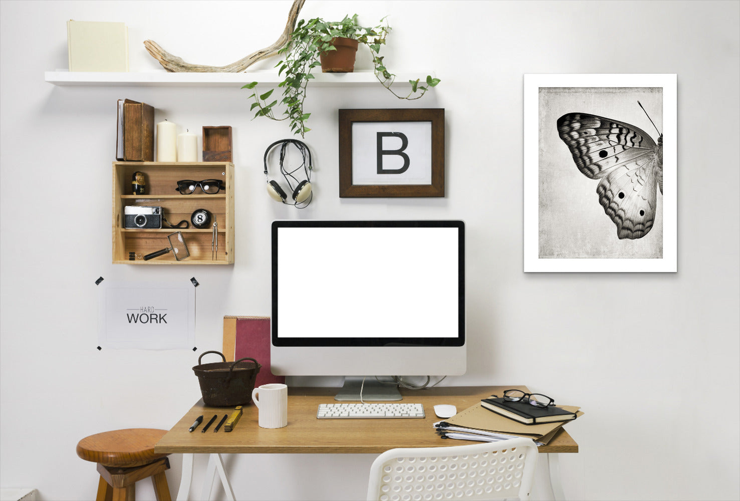 Gray Butterfly I By Chaos & Wonder Design - White Framed Print