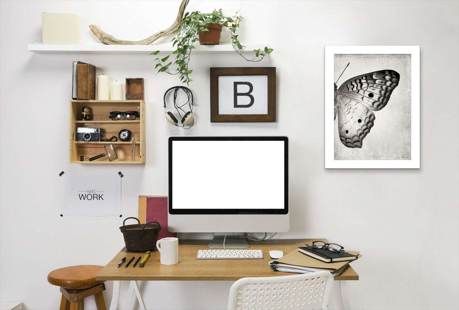 Gray Butterfly Ii By Chaos & Wonder Design - White Framed Print