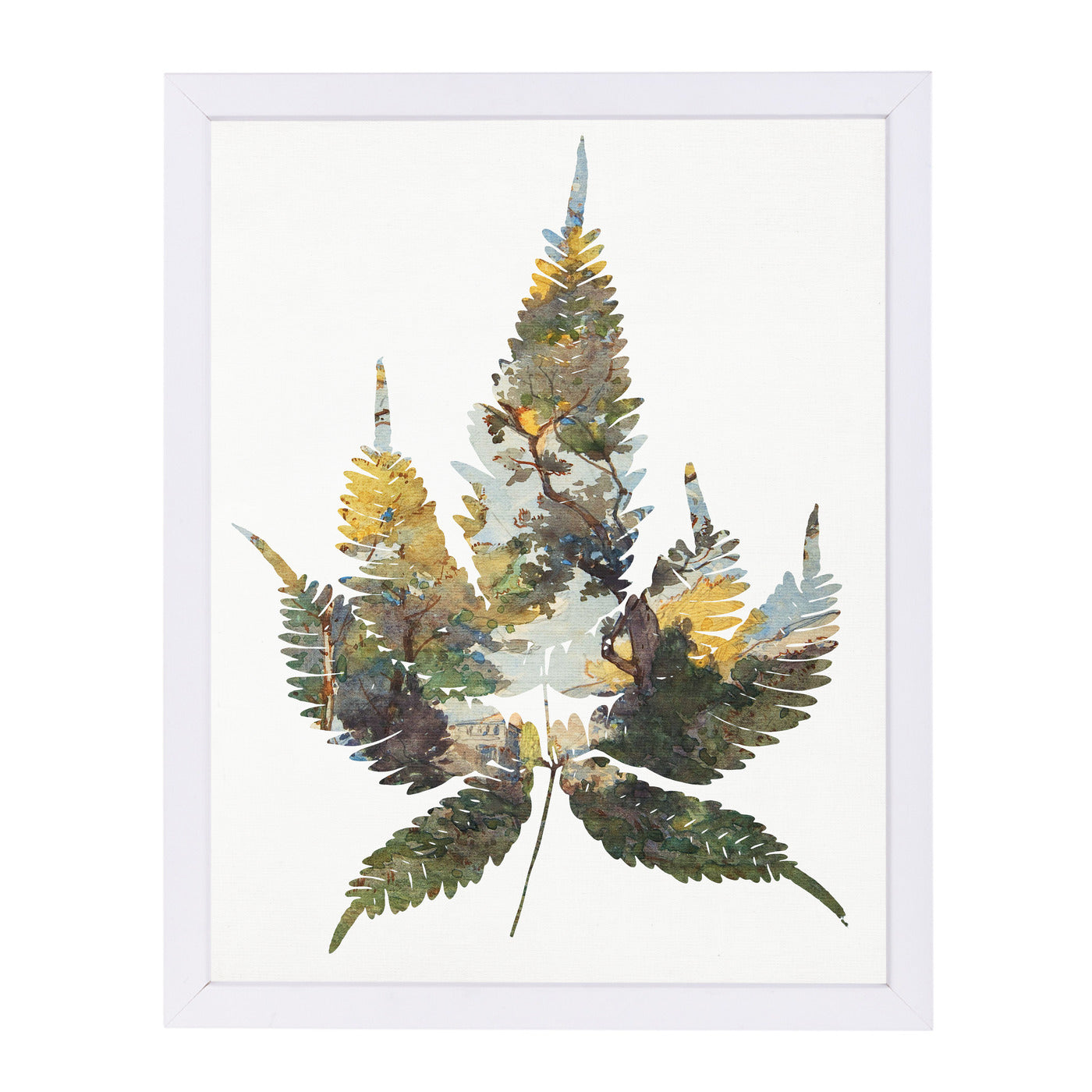 Leaf Collage I By Chaos & Wonder Design - White Framed Print - Wall Art - Americanflat