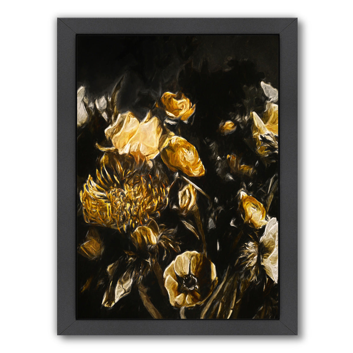 Dark Floral Ii By Chaos & Wonder Design - Black Framed Print - Wall Art - Americanflat