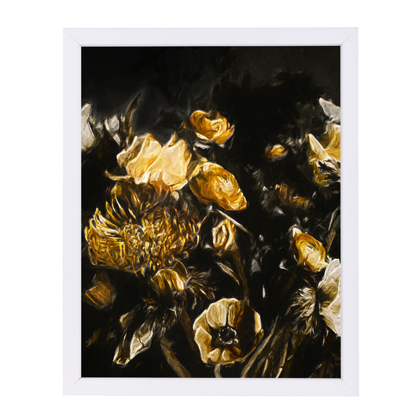 "Dark Floral Ii By Chaos & Wonder Design - White Framed Print, Wall Art, Chaos & Wonder Design, 8"" x 10"""