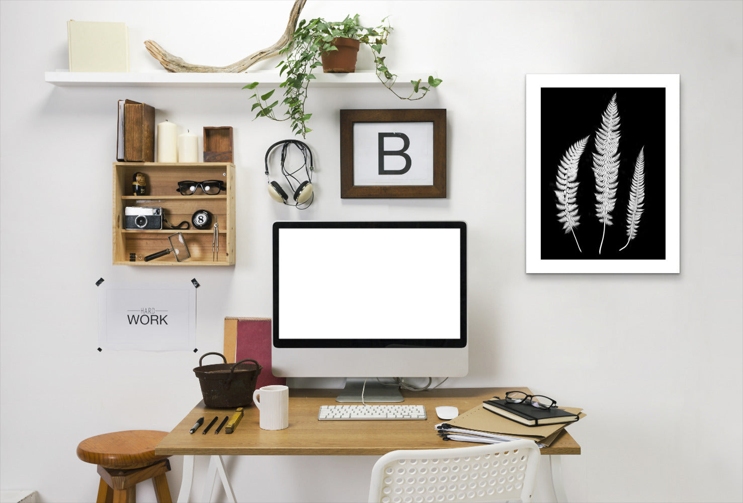 Swirl Ferns I By Chaos & Wonder Design - White Framed Print - Wall Art - Americanflat
