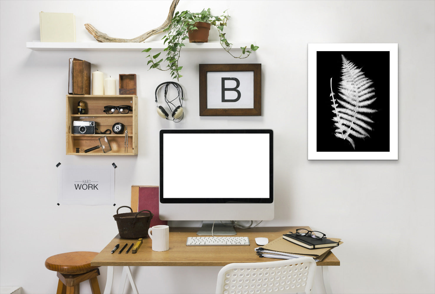 Swirl Fern Ii By Chaos & Wonder Design - White Framed Print