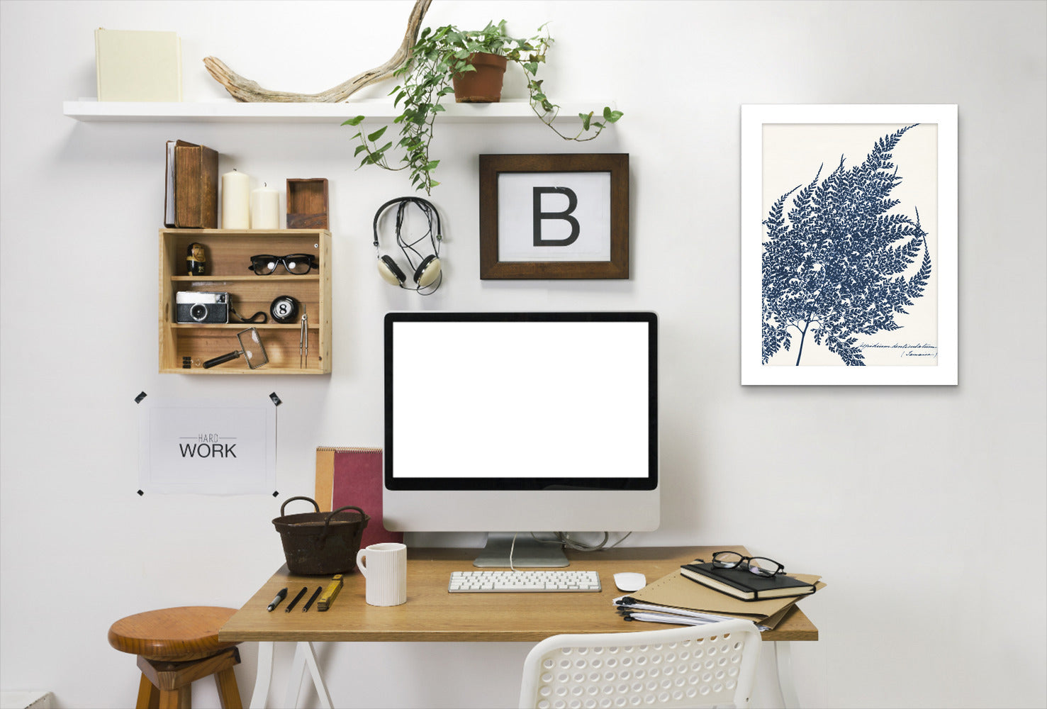 Blue Fern I By Chaos & Wonder Design - White Framed Print