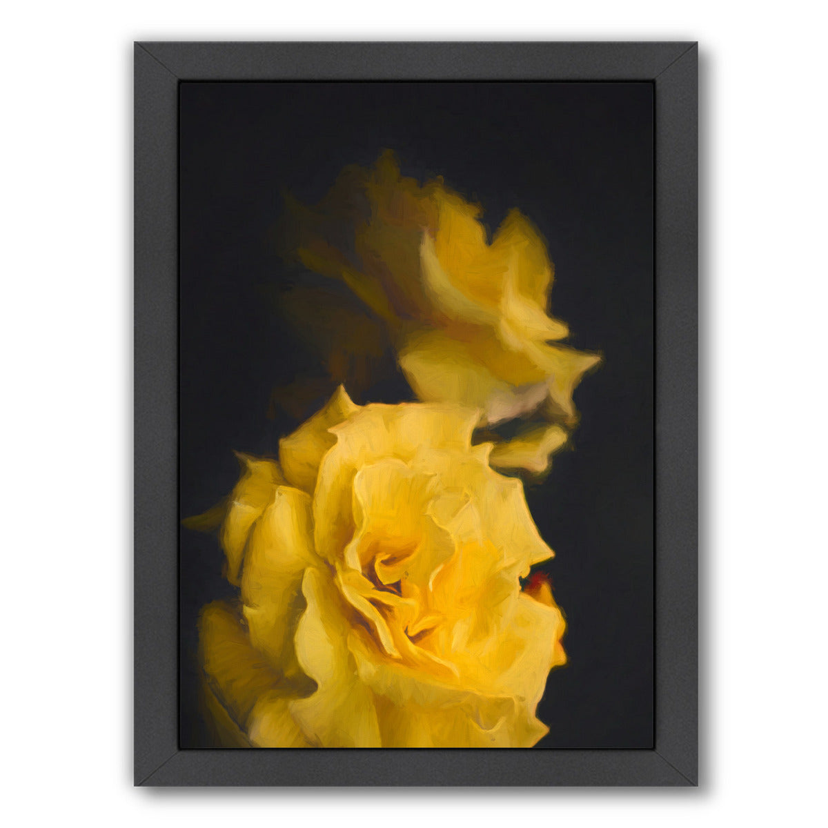 Yellow Roses By Chaos & Wonder Design - Black Framed Print - Wall Art - Americanflat