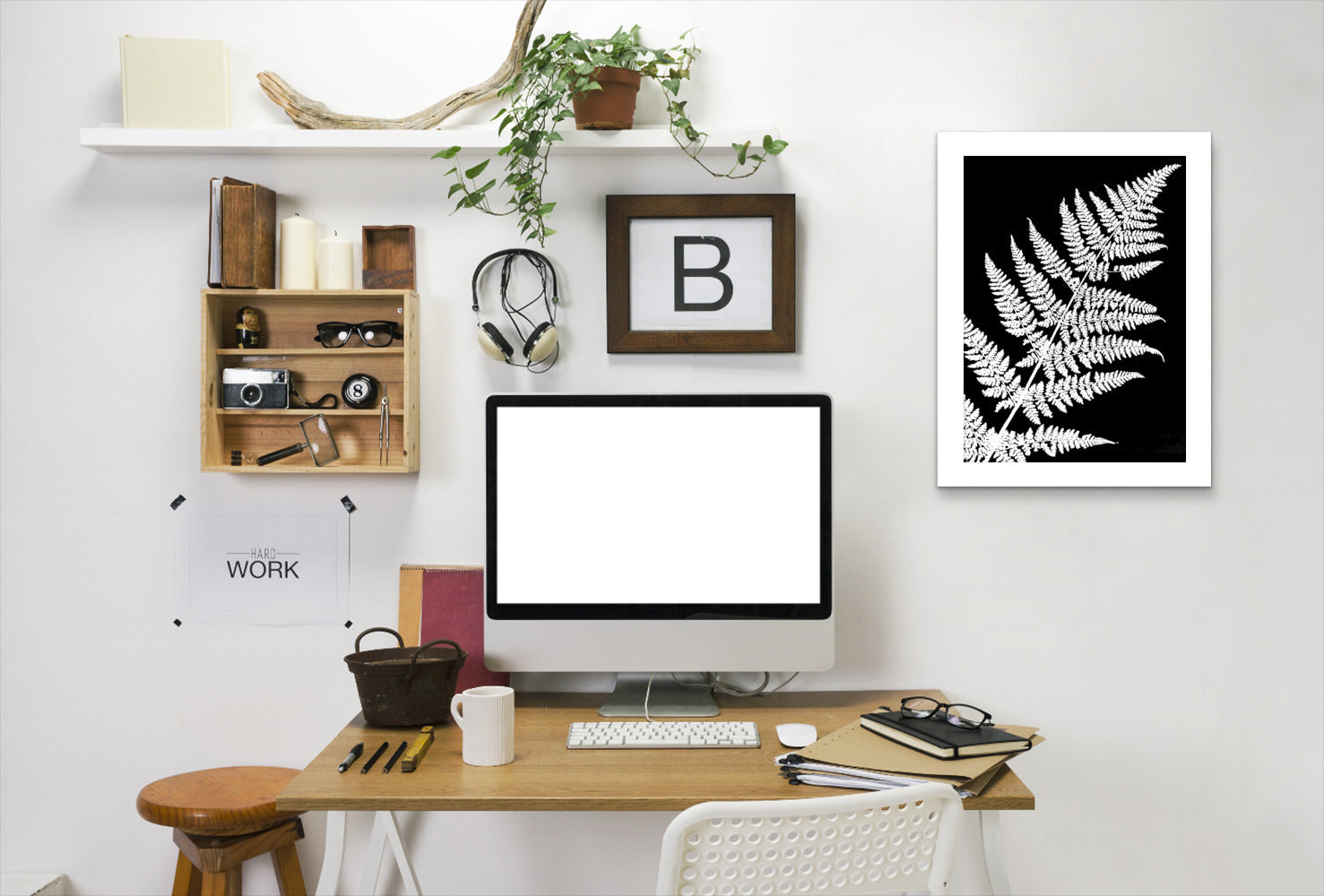 White Fern Iii By Chaos & Wonder Design - White Framed Print - Wall Art - Americanflat