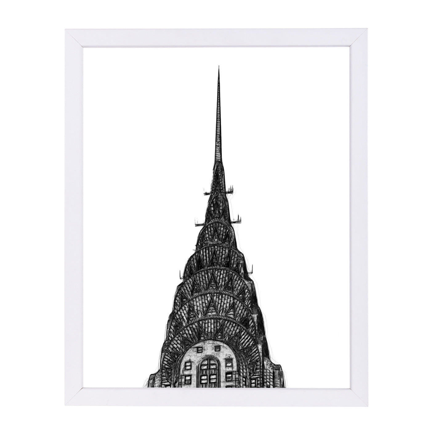 Scribble Chrysler By Chaos & Wonder Design - White Framed Print - Wall Art - Americanflat