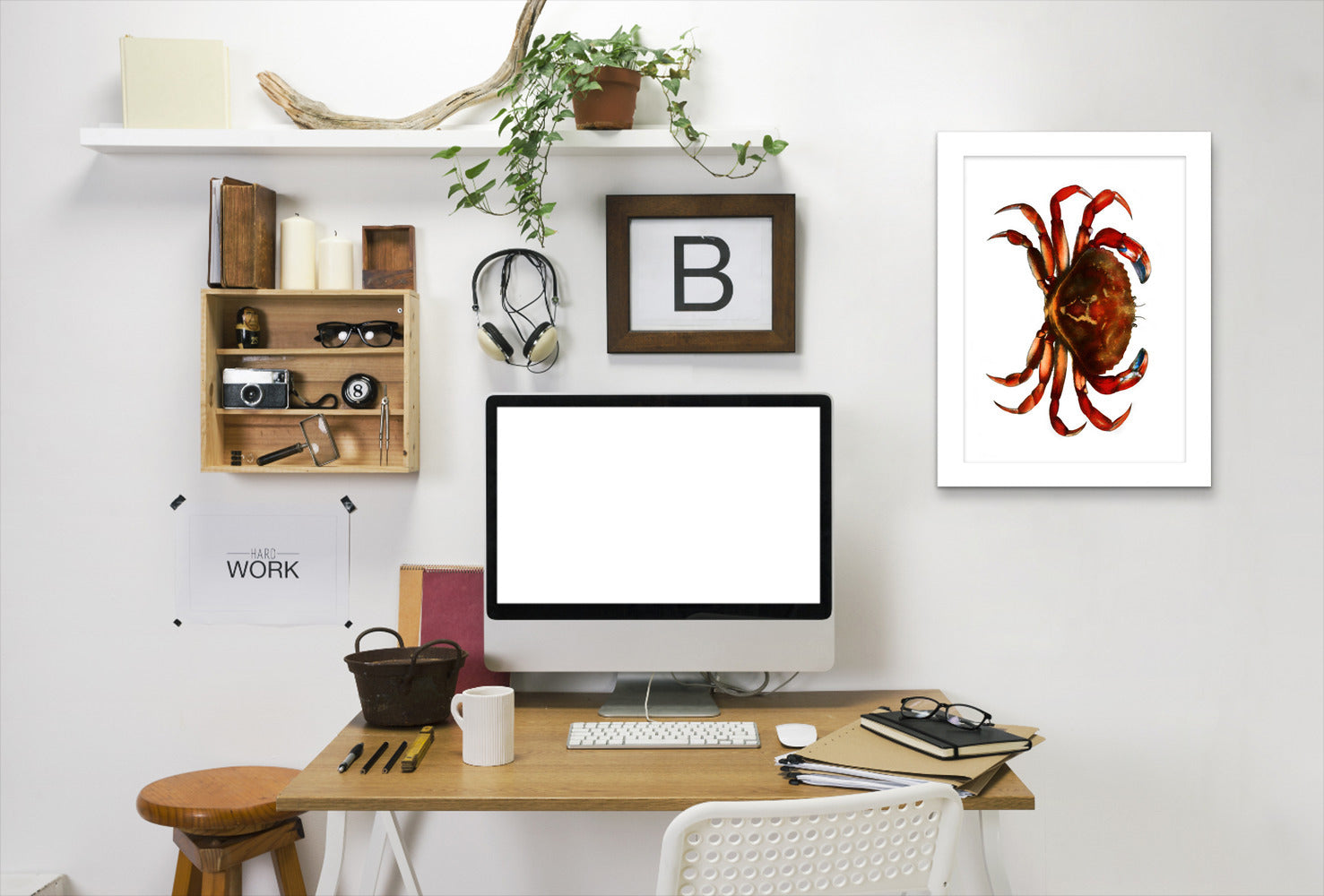 Crab By Chaos & Wonder Design - White Framed Print