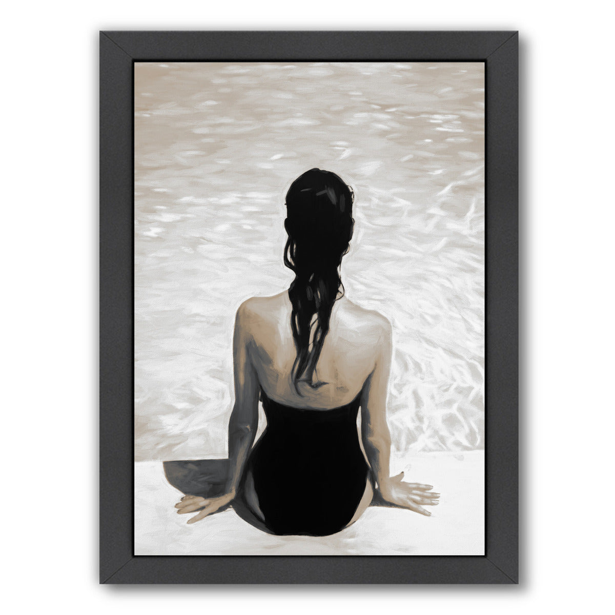 By The Pool Sepia By Chaos & Wonder Design - Black Framed Print - Wall Art - Americanflat