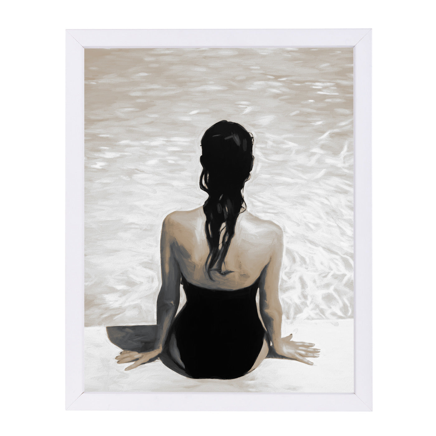 By The Pool Sepia By Chaos & Wonder Design - White Framed Print - Wall Art - Americanflat
