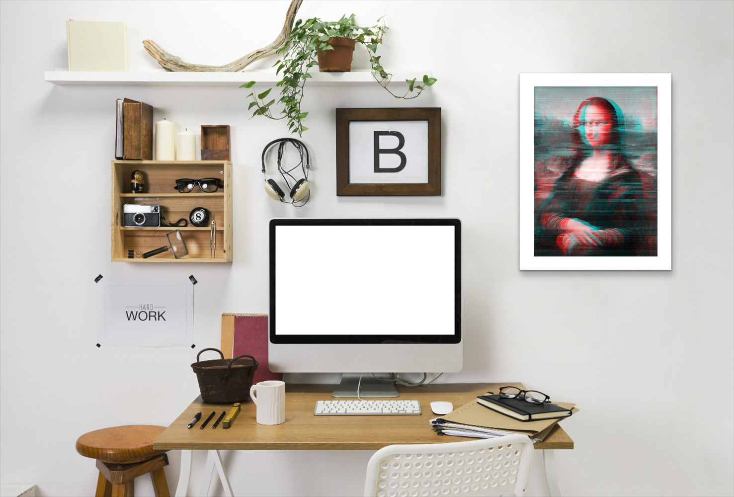 Glitch Monalisa By Chaos & Wonder Design - White Framed Print - Wall Art - Americanflat
