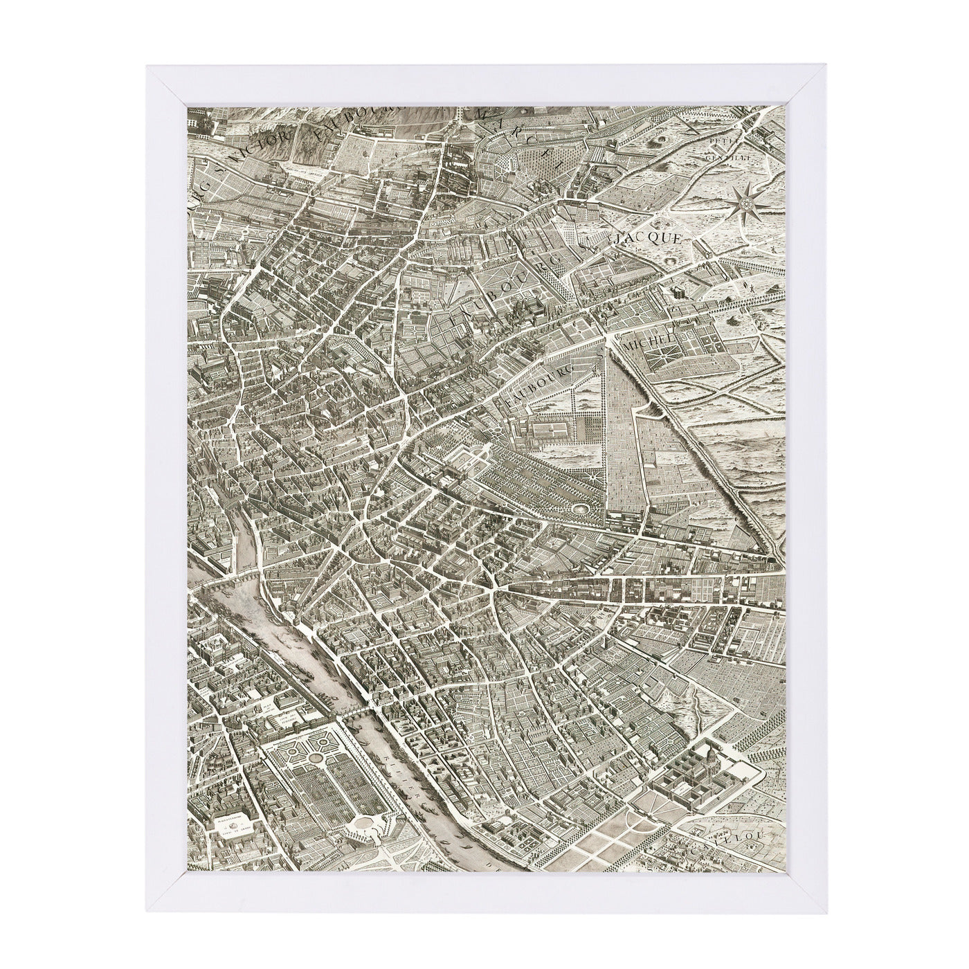 Map Paris Ii By Chaos & Wonder Design - White Framed Print - Wall Art - Americanflat
