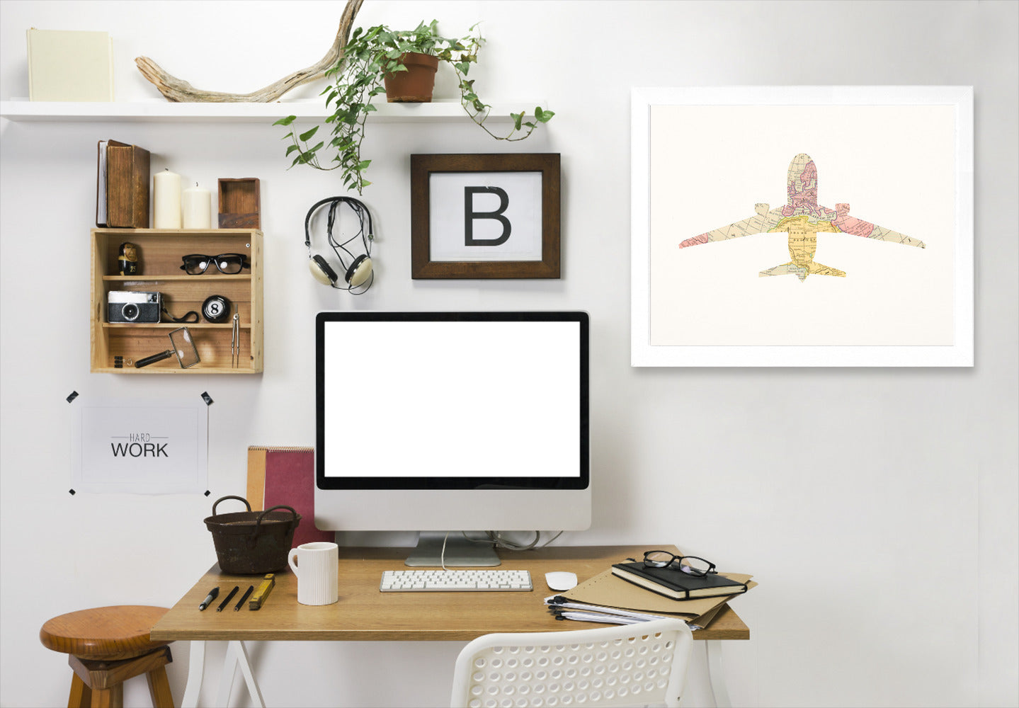 Vintage Map Plane Collage Ii By Chaos & Wonder Design - White Framed Print