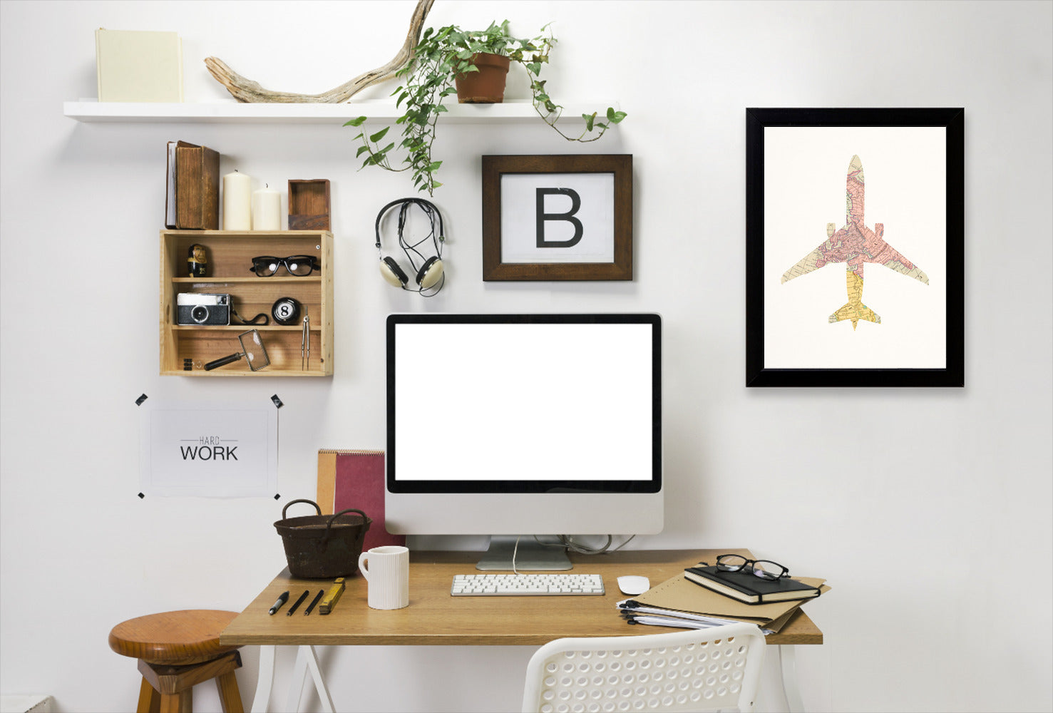 Vintage Map Plane Collage I By Chaos & Wonder Design - Black Framed Print - Wall Art - Americanflat