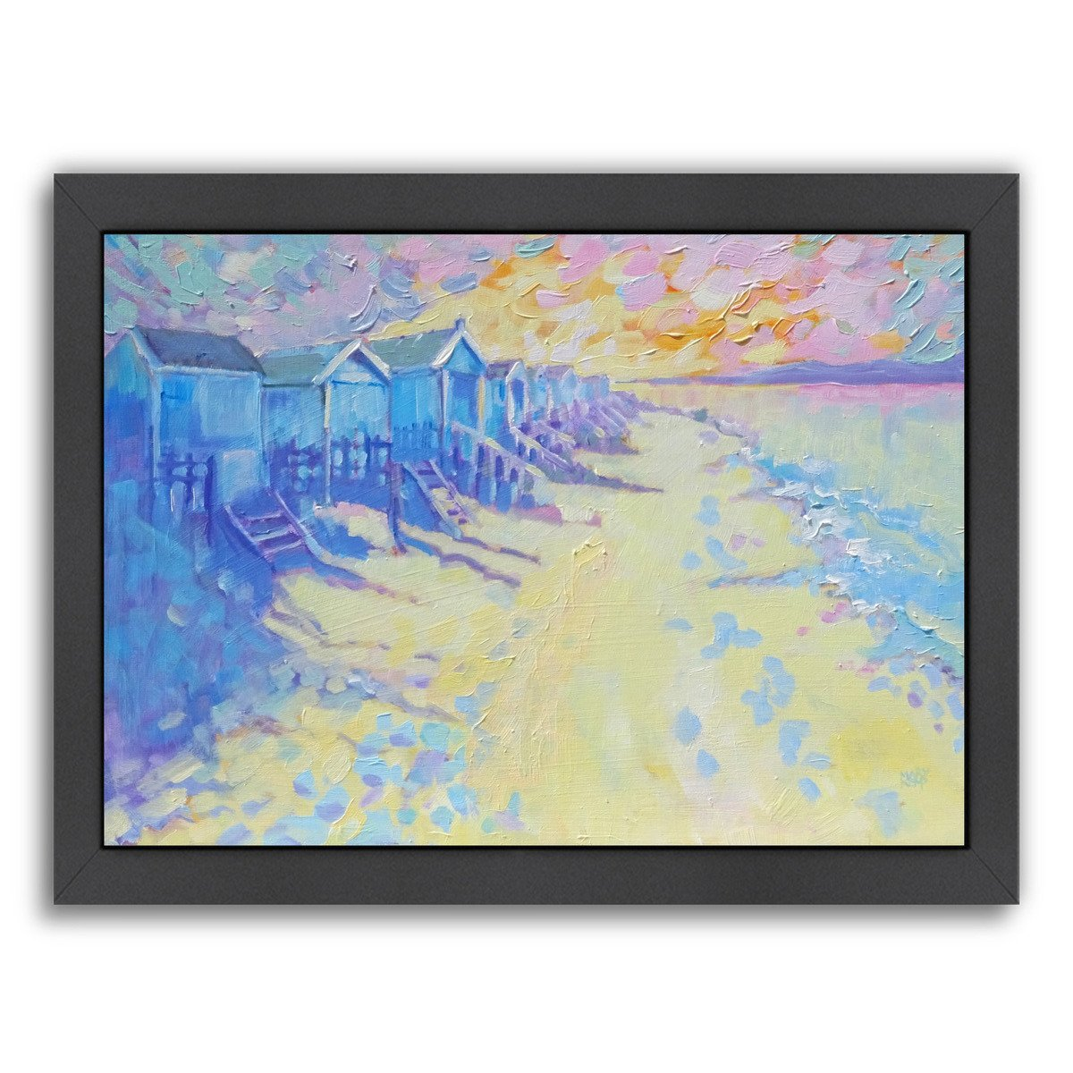 Beach Huts By Mary Kemp - Black Framed Print - Wall Art - Americanflat
