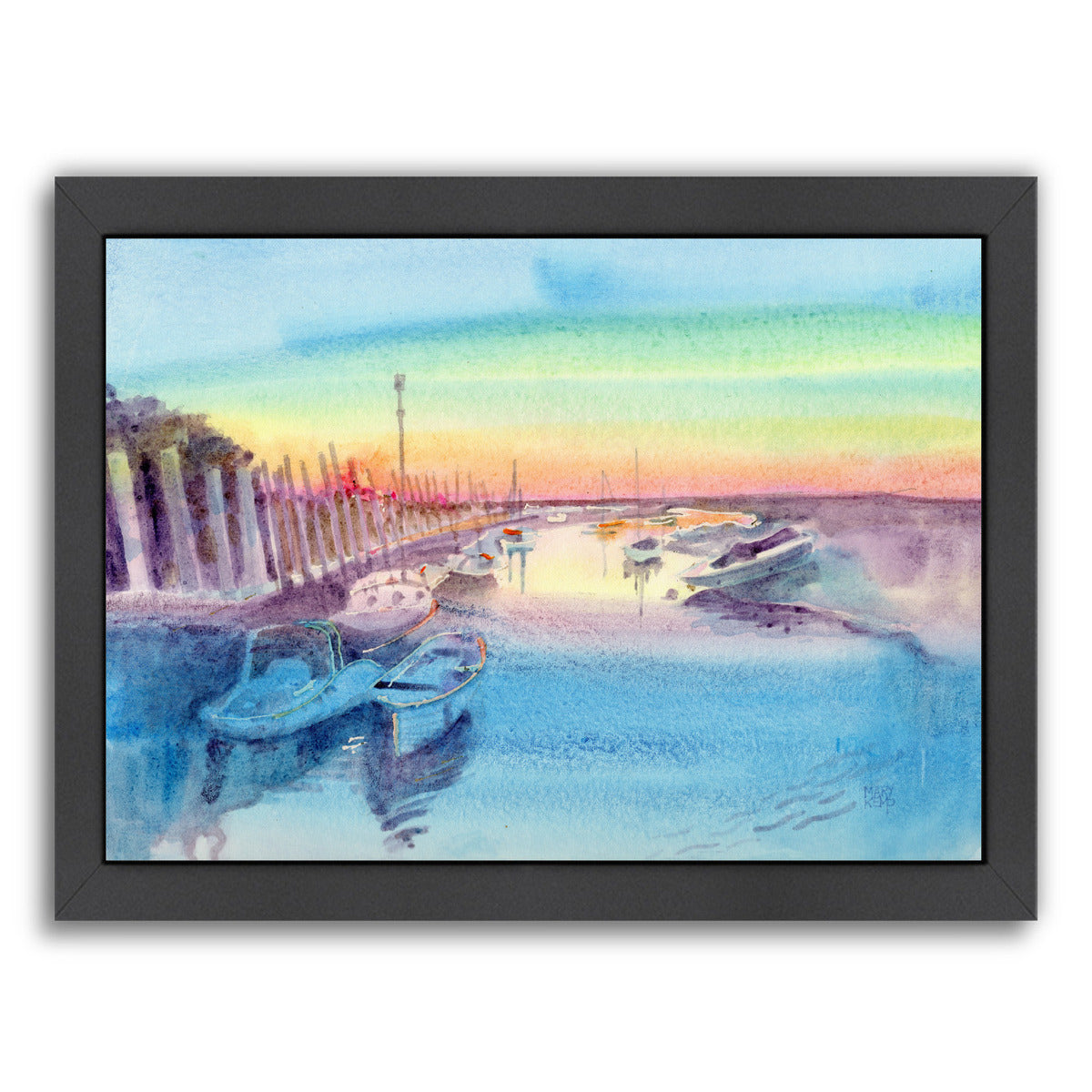 Evening Harbour By Mary Kemp - Black Framed Print - Wall Art - Americanflat